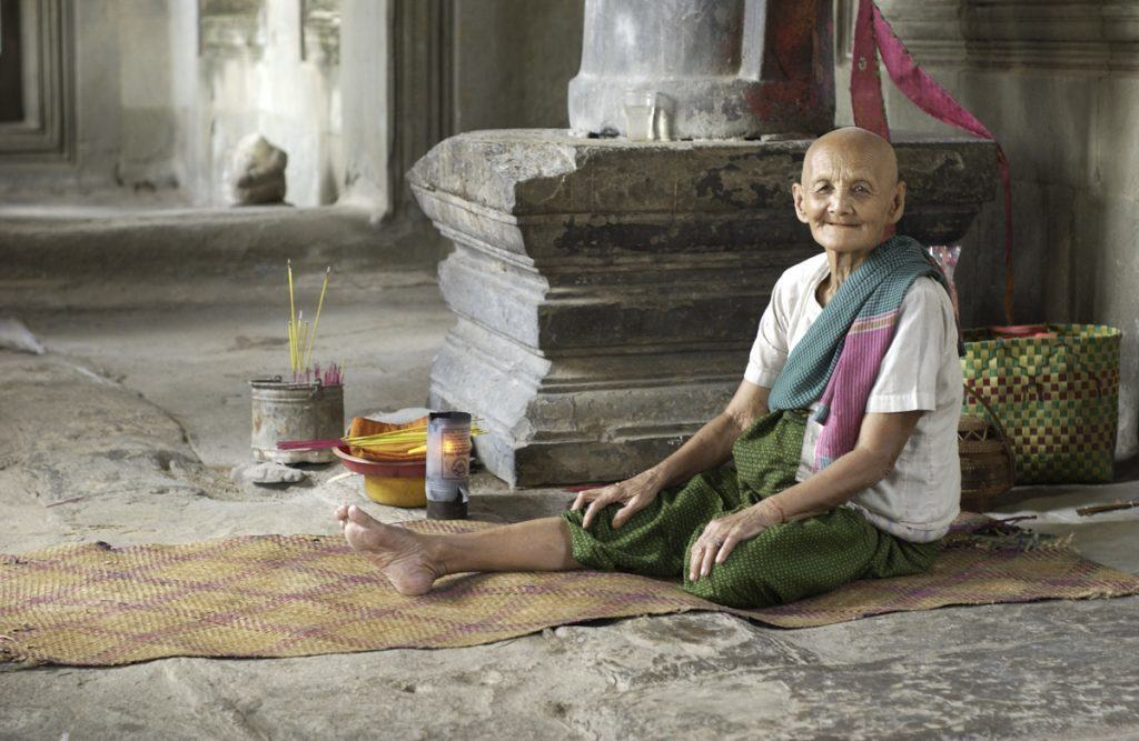 Lady in Ankgor Wat Temple in Cambodia