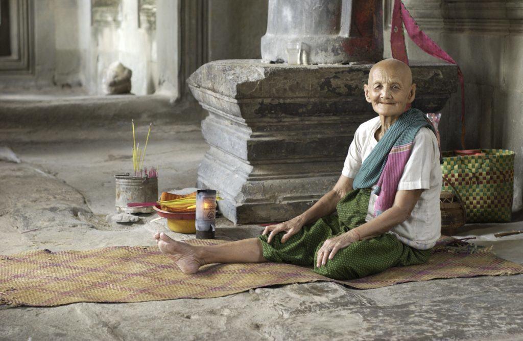 Lady in Ankgor Wat Temple in Cambodia