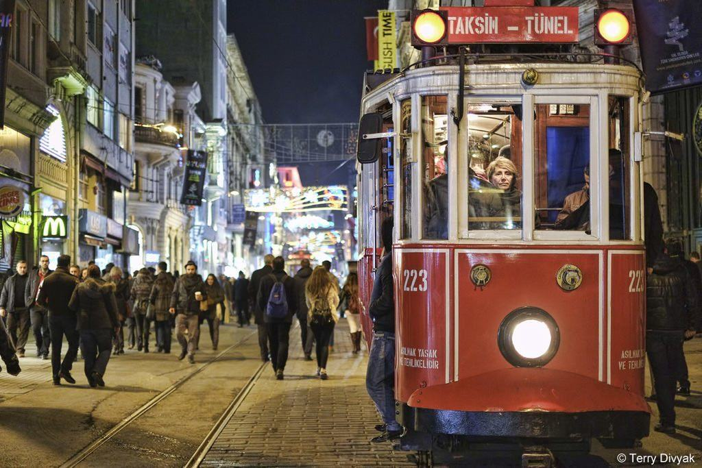 Taksim Square Trolley at Night