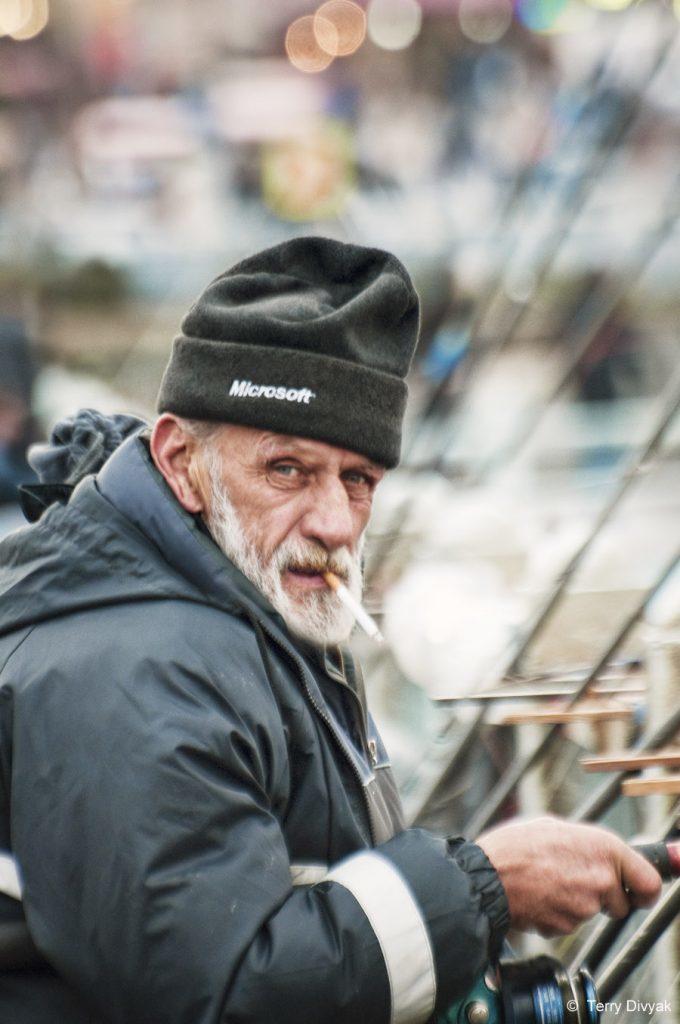 Fisherman on the Galata Bridge in Istanbul