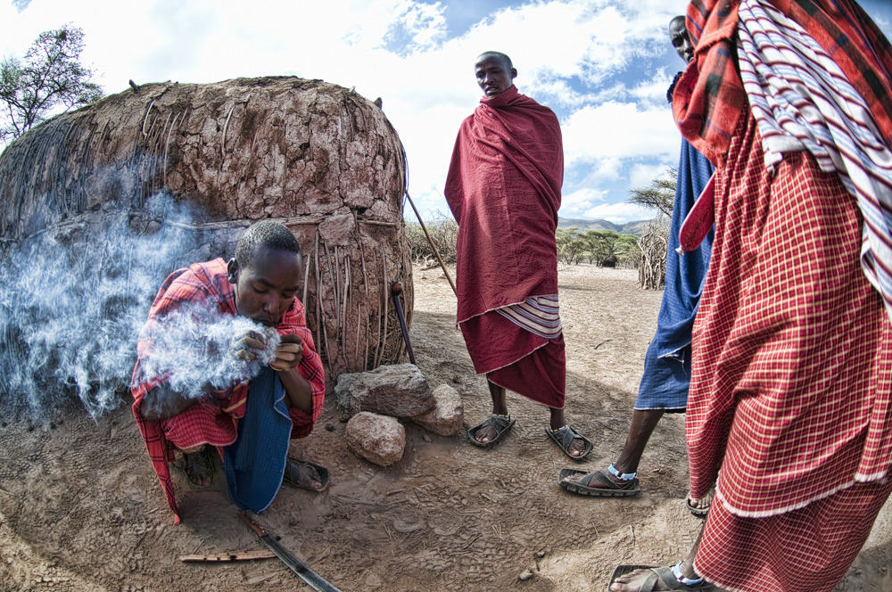 Maasai Men Making Fire