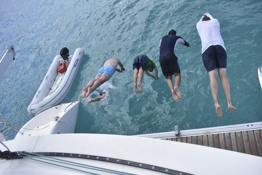 Diving off catamaran in the BVI