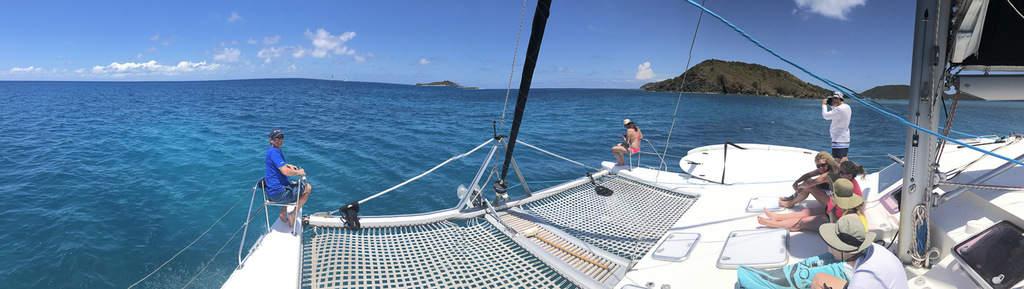 Sailing through British Virgin Islands on a catamaran