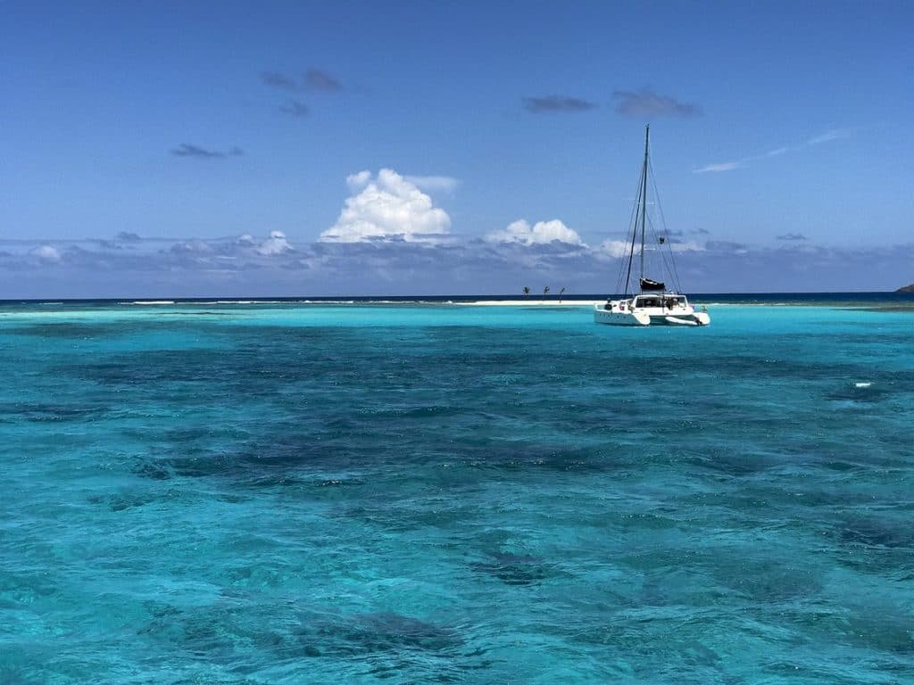 Catamaran off of Necker Island in the British Virgin Islands