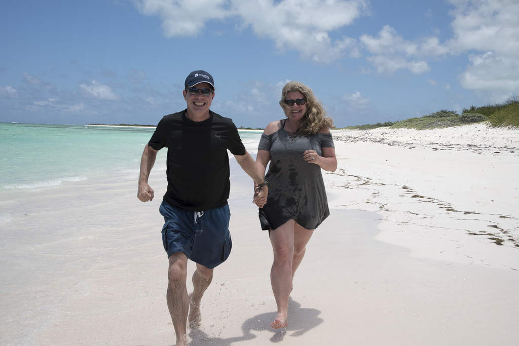 Running down the beach on Anegada