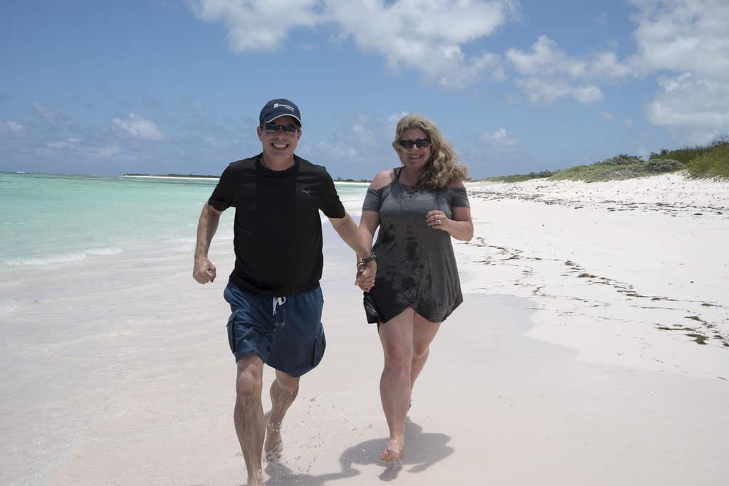 Running down the beach on Anegada