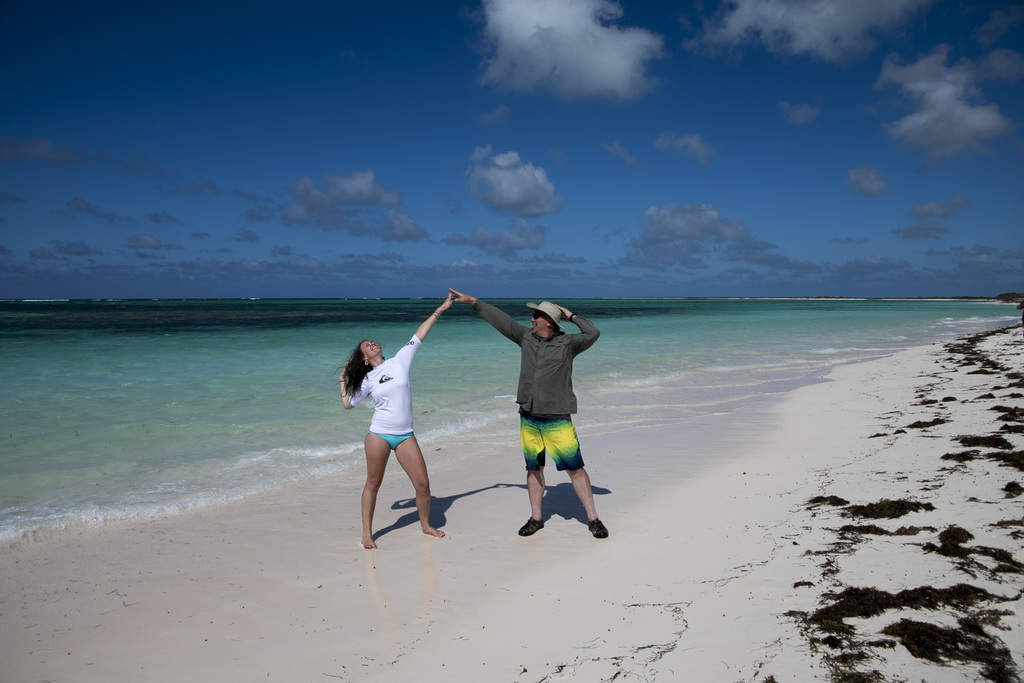 Posing on the beach on Anegada