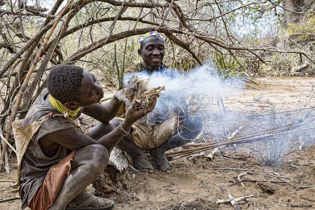 Hadzabe Building a fire