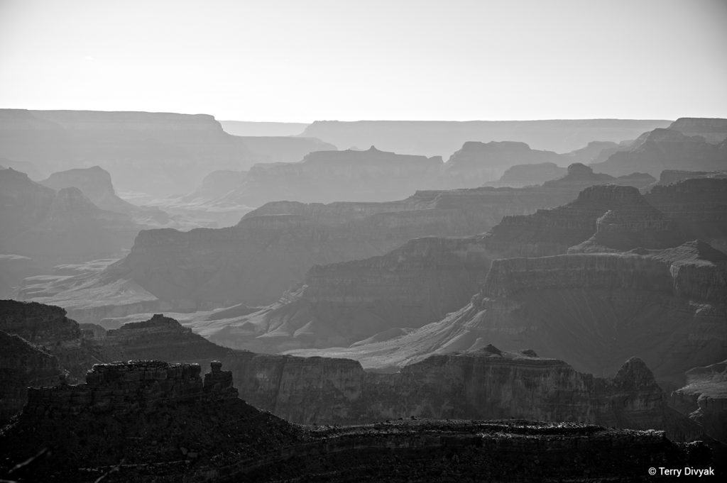 South Rim of Grand Canyon in B&W
